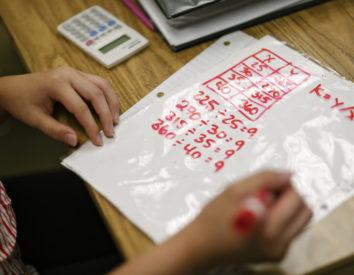 Student doing math